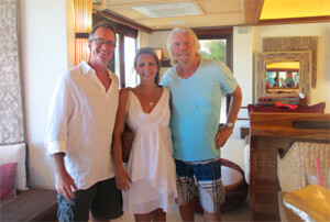 Thom and Shawna with Sir Richard Branson at Necker Island