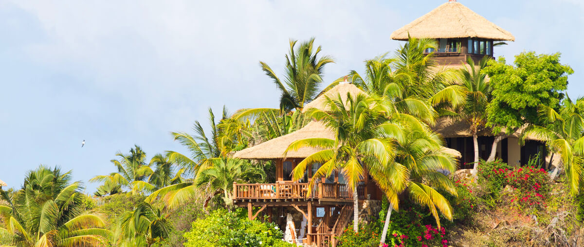 Balinese style villas on Necker Island