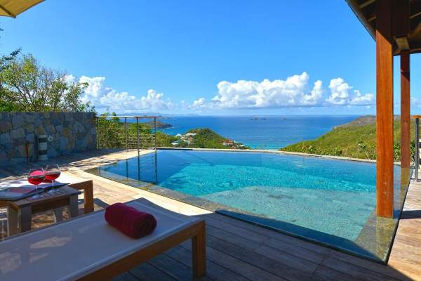 Enjoy views of the ocean and nearby islands from Villa MJS