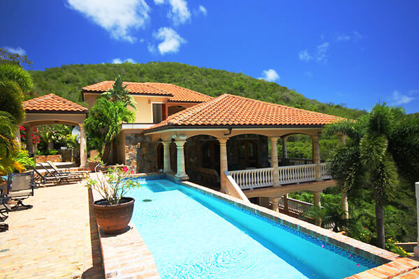Darcini Villa is located in Fish Bay with a south facing view of rolling hills