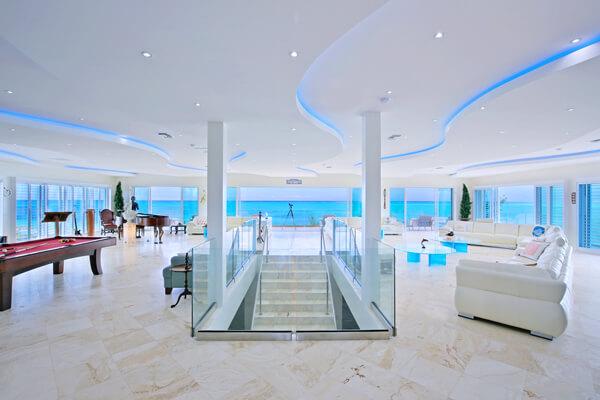 Expansive living area has endless views of the ocean