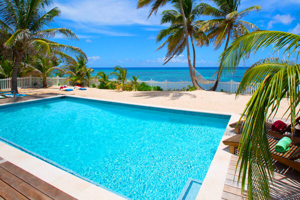 The private pool at Babylon Reef has a man made -beach- surrounding it