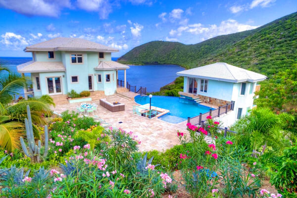 Anam Cara Villa is perched perfectly above Little Bay offering beautiful ocean views