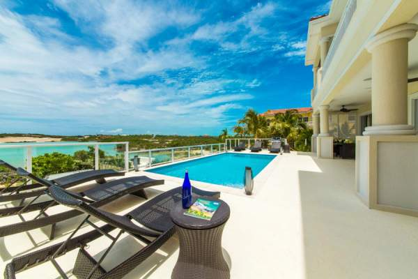 Perfect patio to enjoy waterfront views at Sunset Close Villa
