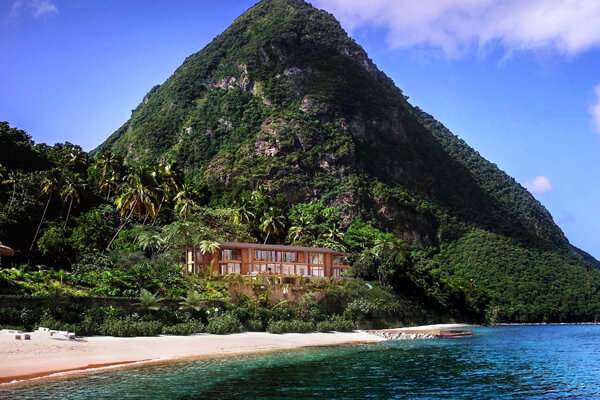 The Beachfront Luxury Collection is located on the white sands of Sugar Beach in St. Lucia