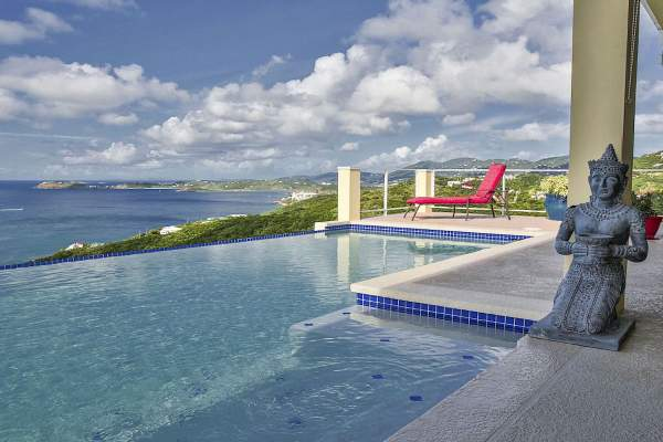Beautiful views by the pool at Green Cay Villa