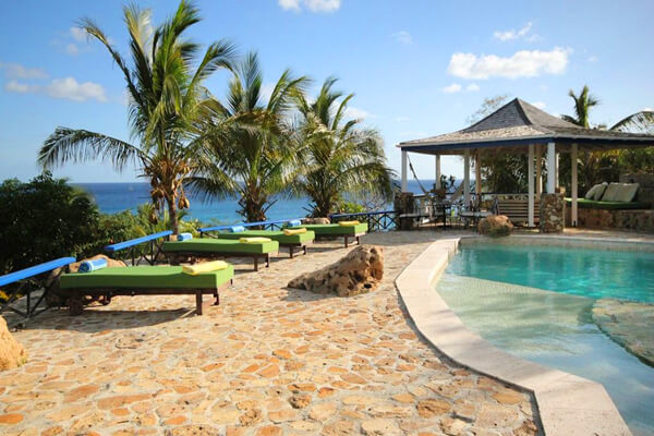 Luxury resort style pool area at The Carib House