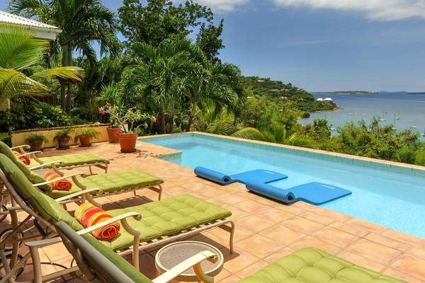 Wonderful views of Great Cruz bay from the pool at Seagrass Cottage