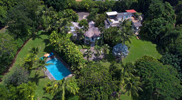 The stunning Evergreen property, in the prestigious Sandy Lane neighborhood, from an aerial view