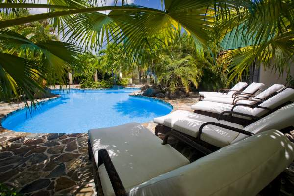 Swimming pool surrounded by tropical landscape at Allamana