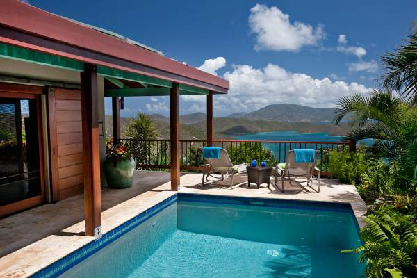 Mooncottage is located on a hilltop above St. John with amazing ocean views