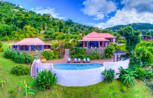 Canefield house sits on a lovely hillside in the heart of Tortola