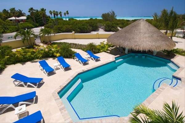 The pool and palapa at Pelican Vista Villa