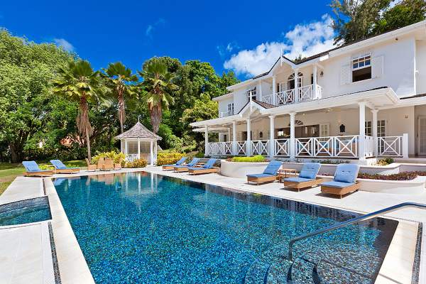 Luxurious pool and backyard at Moon Dance Villa