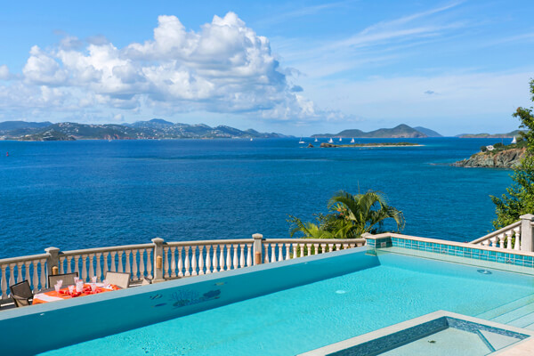 Rhapsody Villa sits above Turner Bay looking out to the Island of St. Thomas