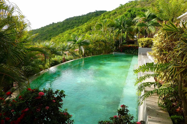 Fabrizia Villa offers a great pool nestled on the hillside over Gustavia Harbor