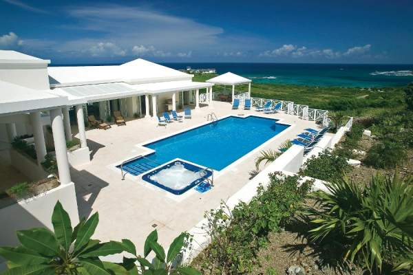 Beautiful pool area and view of the caribbean at Blue Vista Villa