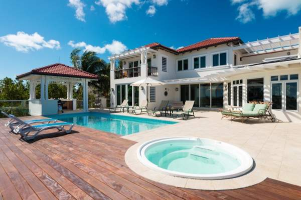 Dawn Beach Villa has a beautiful pool and a hot tub