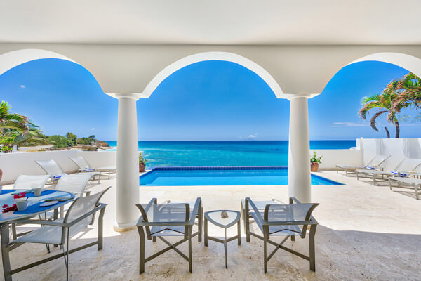 Etoile De Mer Villa has amazing views of the Caribbean from the covered patio