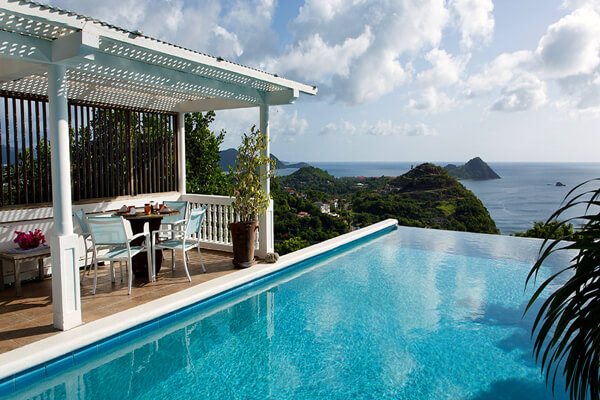 Amazing views of the ocean from the pool and patio at Bliss Villa