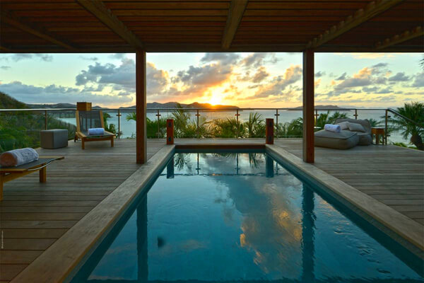 Bali Villa has uninterrupted view of Lorient and the sunset past St. Jean Bay