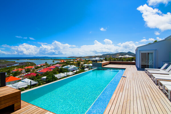 Villa Mango sits on the hillside above Orient Bay