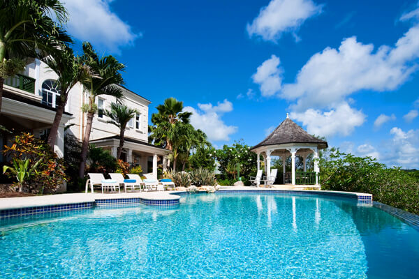 Pandanus Villa has beautiful gardens and is on a private ridge overlooking the Caribbean