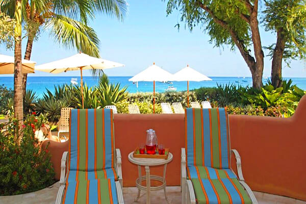 Lounge on the patio at Villas on the Beach 101