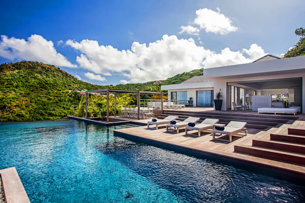 Eternity villa is tucked into at tropical hillside above Flamands