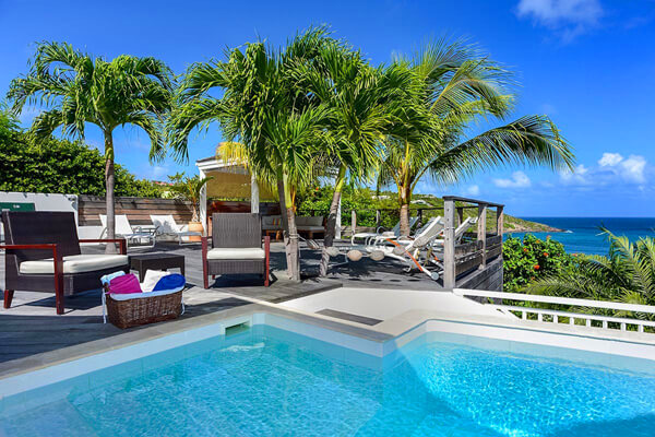 Views of Marigot Bay from the pool and the large deck at Escapade Villa