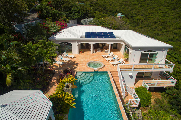 Waterfall Villa is located on a tropical hillside over looking the Caribbean
