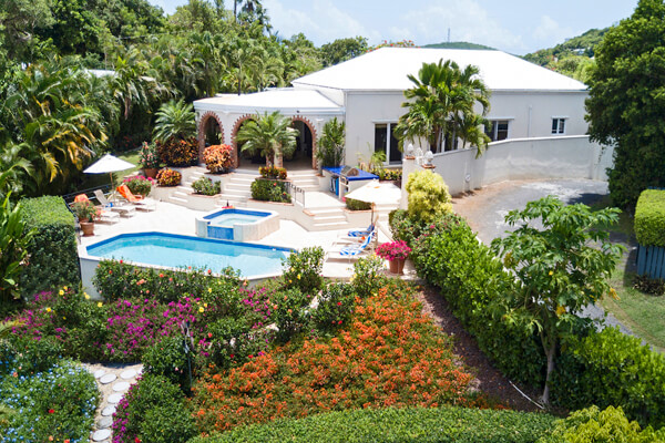 Villa Gardenia is surrounded by beautiful tropical foliage