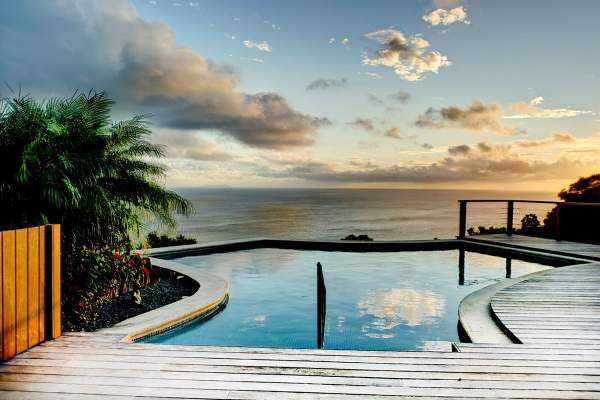 Beautiful views of the Caribbean from the pool deck at Grand Large Villa