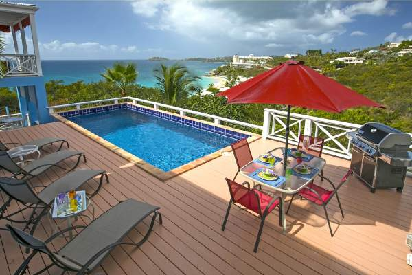 Great pool and deck overlooking Morningstar Beach and nearby resort from Calypso Blu villa