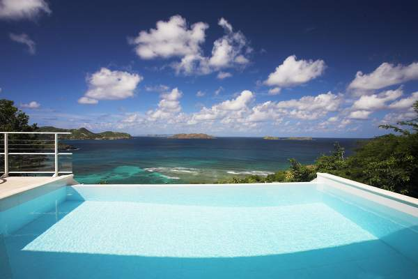 Views of the ocean from the pool at Tortue Villa