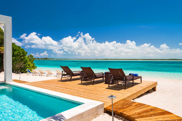 Beachfront Villa Aquazure is located in Leeward along a beautiful stretch of white sandy beach