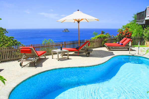 Amazing ocean views from the pool deck at DAN Villa