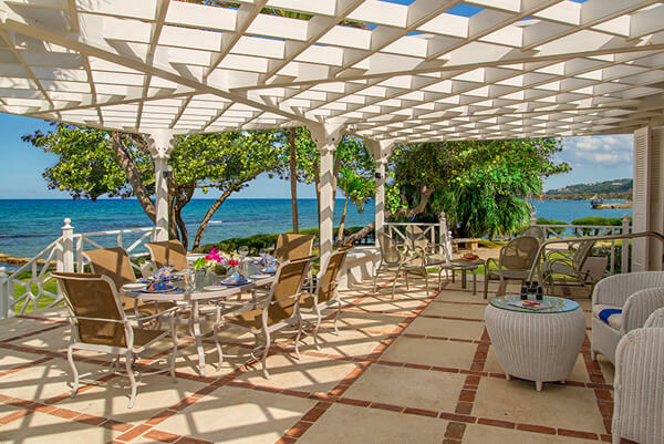 The patio at Seaspray Villa is the perfect place to relax and enjoy some cocktails