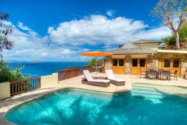 Turtle Bay House is perched just above Mountain Trunk Bay with amazing views of the Caribbean