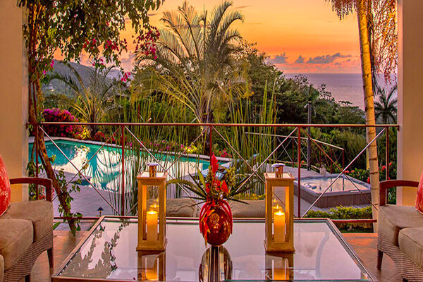 Enjoy amazing sunsets on the balcony at Sugar Hill