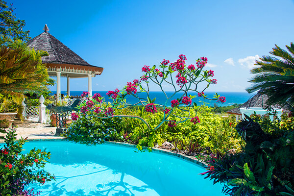 Lush tropical landscaping and private pool at Mahogany Villa