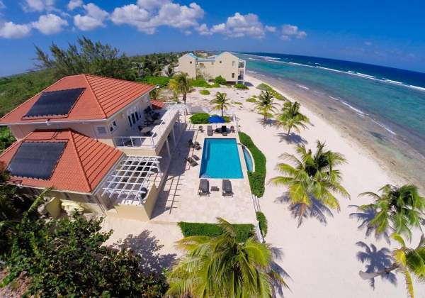 An aerial view of in Harmony Villa located directly on the beach