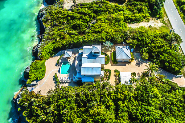 An aerial view of Fishbones Villa
