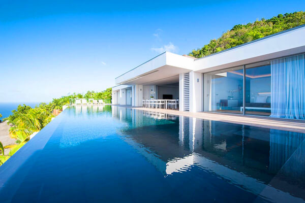 Ginger Villa sits in the hills above Lorient Bay